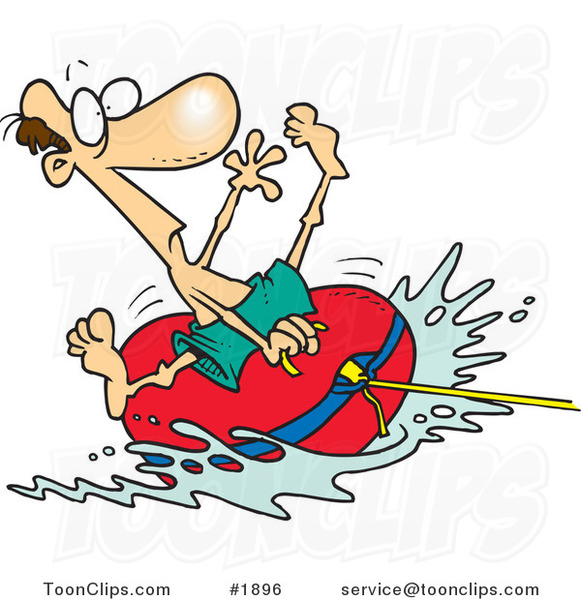 Cartoon guy riding on. Boat clipart tubing