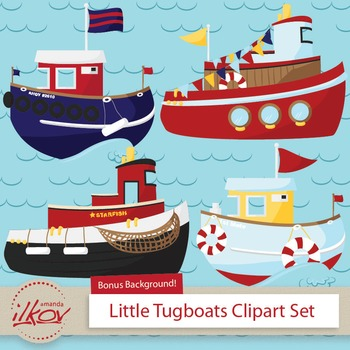 Boats clipart tugboat. Premium nautical digital scrapbooks