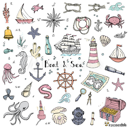 Hand drawn doodle boat. Boats clipart underwater