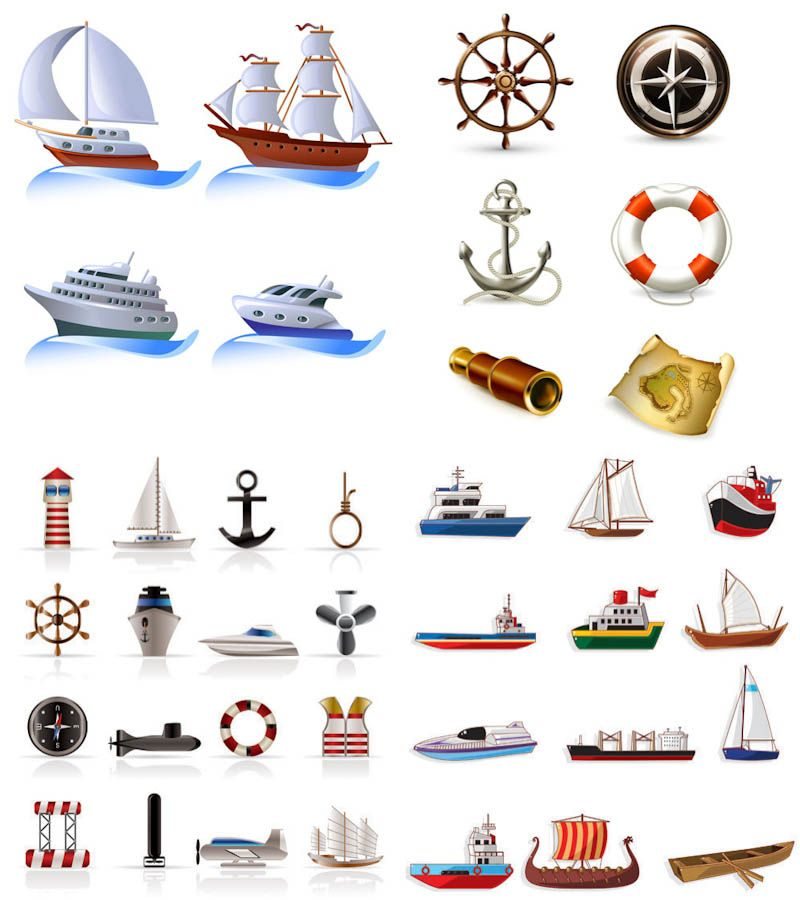 Set graphics blog scrapbook. Boats clipart vector