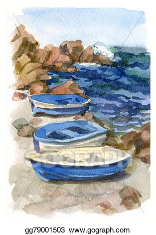 Boats clipart watercolor. Stock illustration seascape with