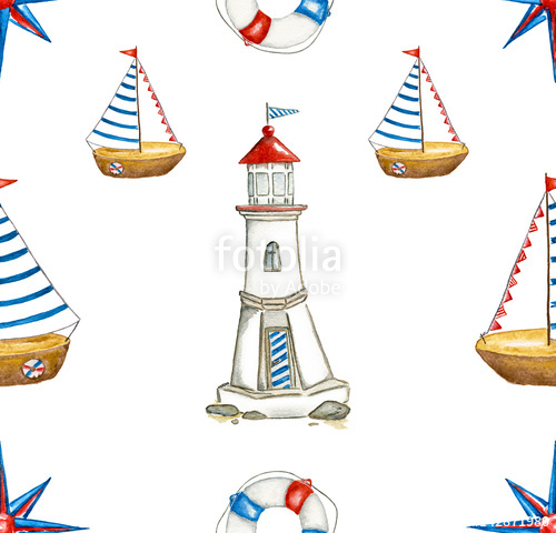 Seamless nautical pattern hand. Boats clipart watercolor