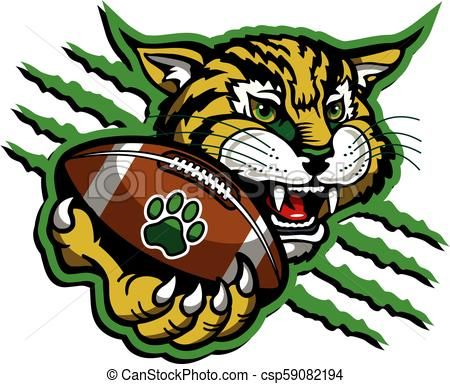 Football vector stock illustration. Bobcat clipart artwork