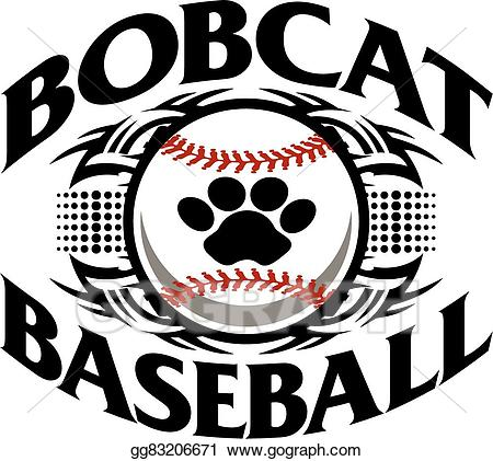 Vector stock baseball illustration. Bobcat clipart artwork