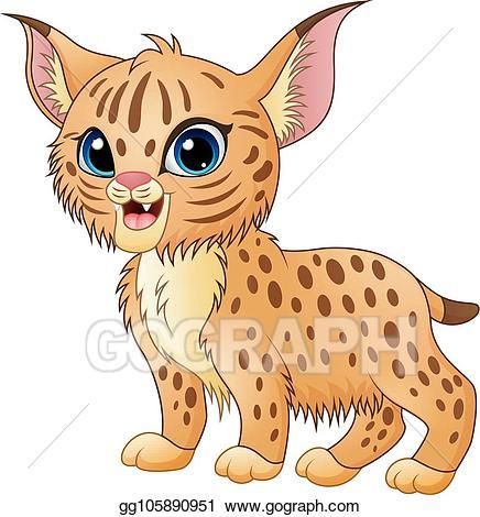 Bobcat clipart baby. Vector stock cute cartoon