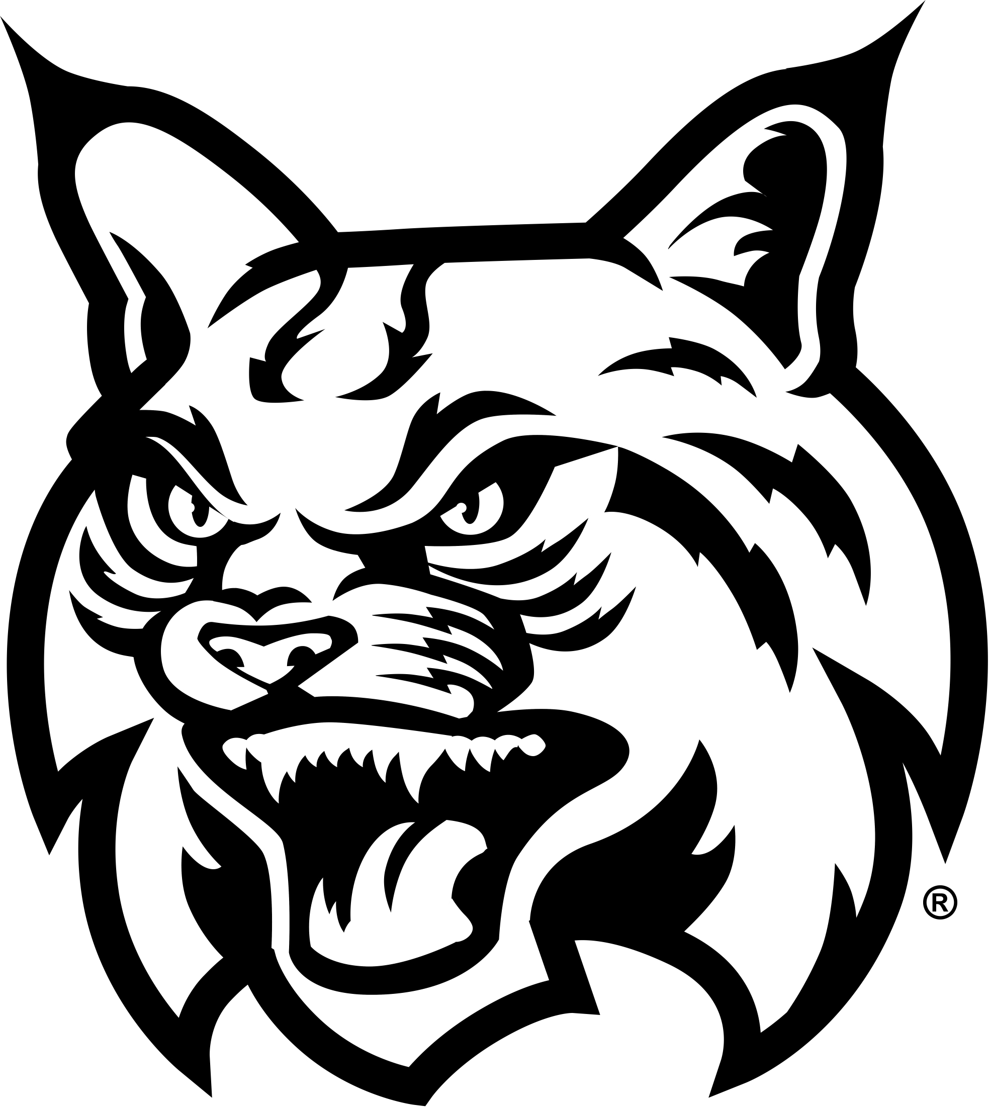 Bobcats drawing at getdrawings. Bobcat clipart black and white