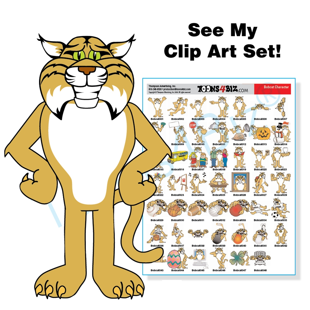 Bobcat clipart cartoon. Mascot clip art bundle