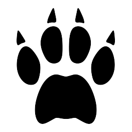 Paw print silhouettes silhouette. Bobcat clipart claw