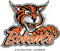 Bobcat clipart clip art. Mascot image of leaning