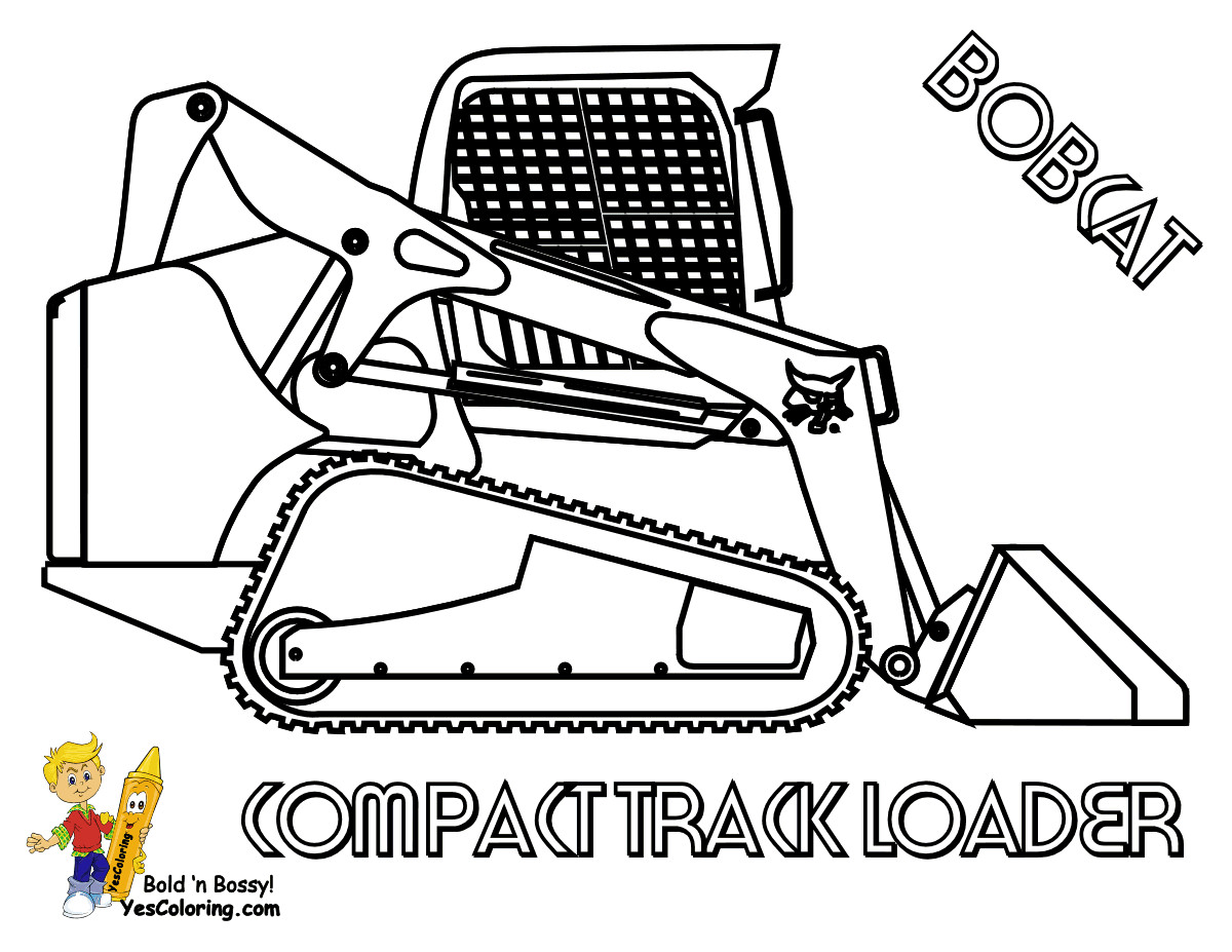 Bobcat clipart construction.  vehicle coloring backhoe