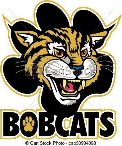 Bobcat clipart cute. Bobcats mascot team design