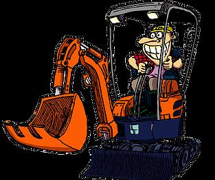 Diggermate mini excavator hire. Bobcat clipart digger