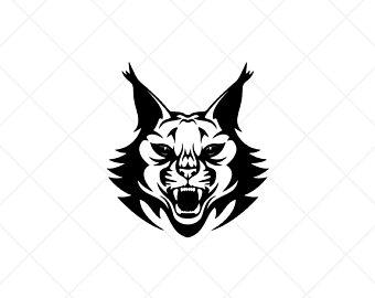 Bobcat clipart file. Etsy lynxbobcat head vector