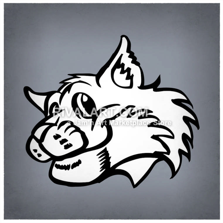 Bobcat clipart friendly. Black white wildcats bobcats