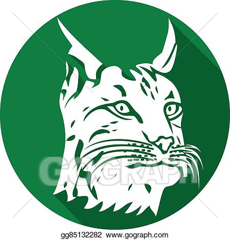 Vector illustration head of. Bobcat clipart icon