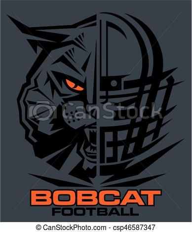 Bobcat clipart icon. Vector football stock illustration