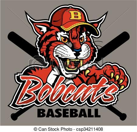 Vector bobcats baseball stock. Bobcat clipart icon