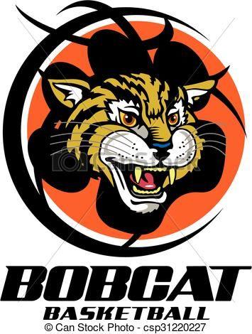 Vector basketball stock illustration. Bobcat clipart icon