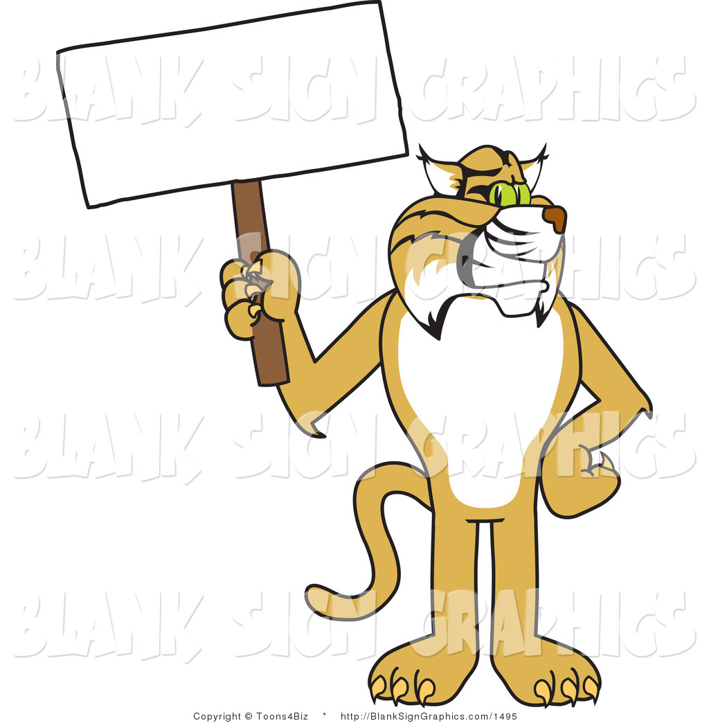 Reading pencil and in. Bobcat clipart illustration