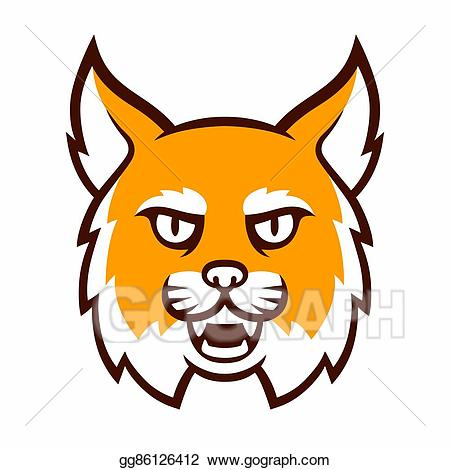Bobcat clipart illustration. Vector angry mascot head