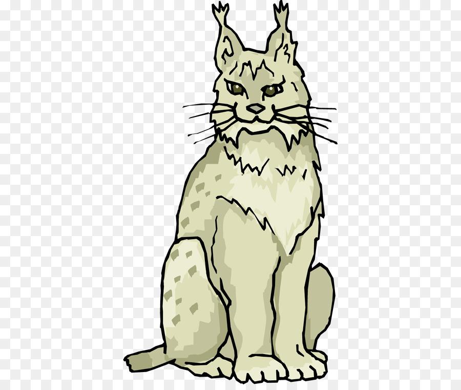 Bobcat clipart line. Eurasian lynx whiskers clip