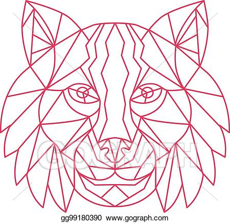 Bobcat clipart line. Vector art lynx head