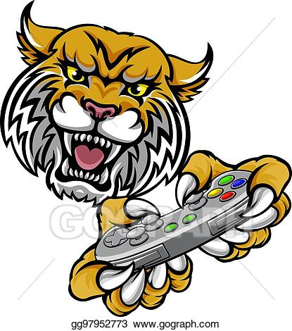 Bobcat clipart lion. Vector art wildcat player