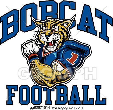 Bobcat clipart logo. Vector art football drawing
