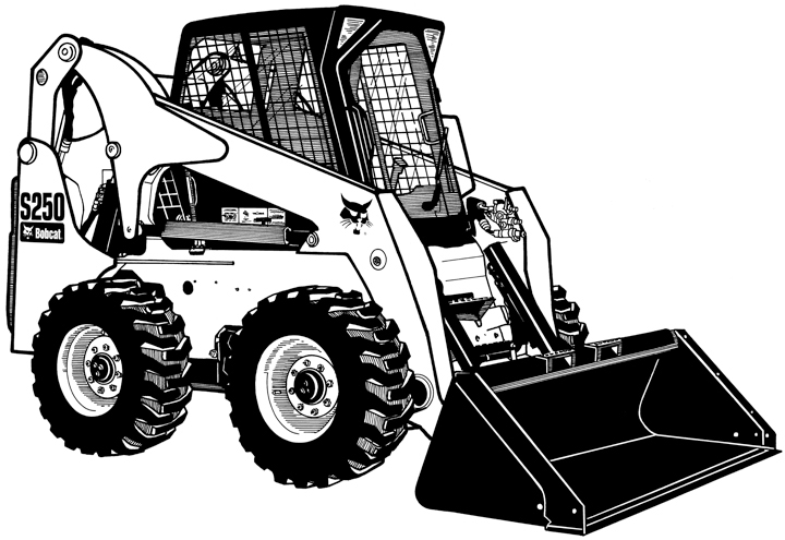 Skid loader pencil and. Bobcat clipart machine
