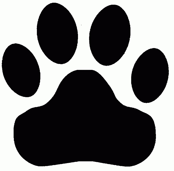 Tiger black and white. Bobcat clipart paw print