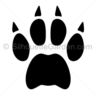 Bobcat clipart print. Paw silhouette