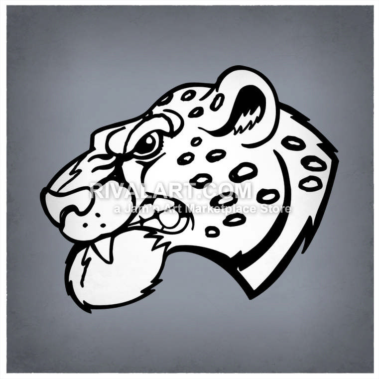 Jaguar head vector of. Bobcat clipart side view