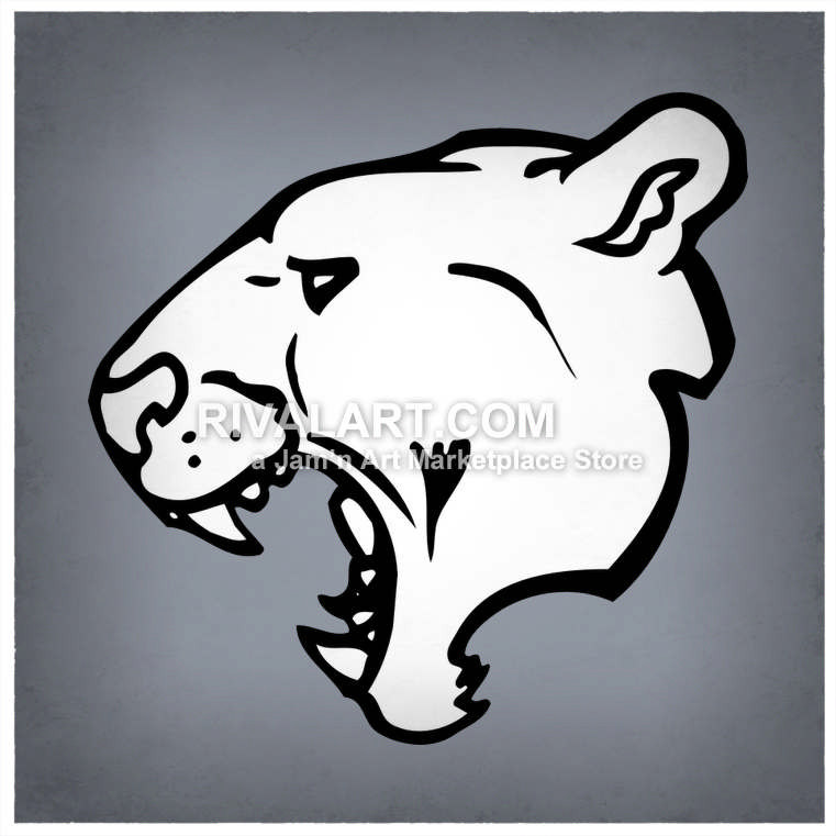 Panthers head vector of. Bobcat clipart side view