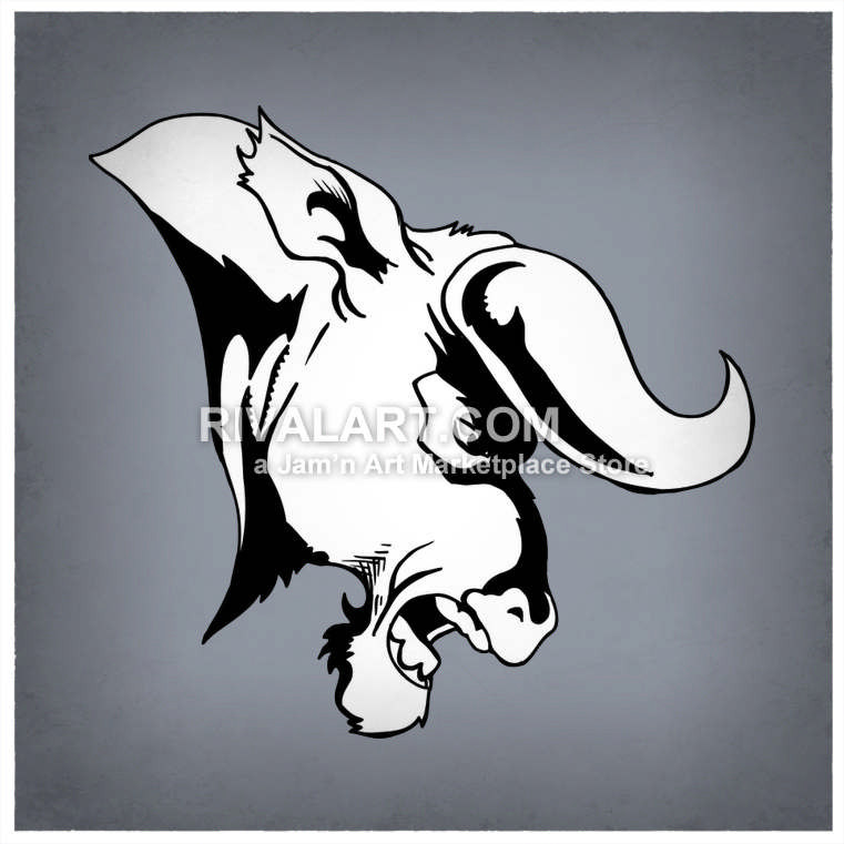Bobcat clipart side view. Bull head with curly