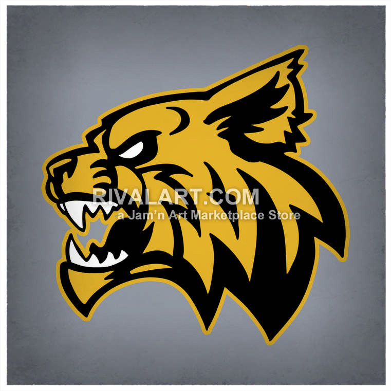 Bobcat clipart side view. Wildcats mascot head in