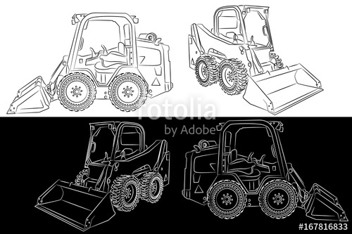 Skid steer compact heavy. Bobcat clipart side view