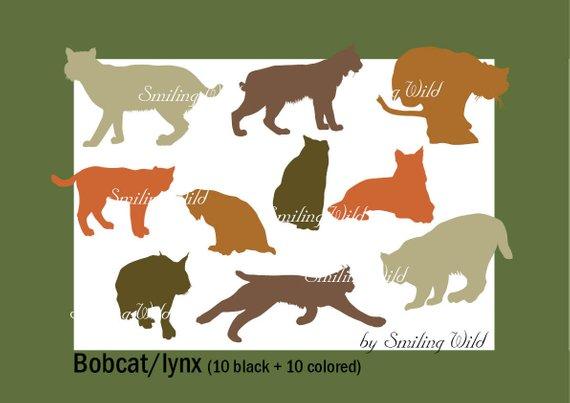 Lynx art svg wildlife. Bobcat clipart silhouette