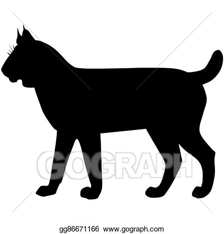 Bobcat clipart silhouette. Stock illustration of the