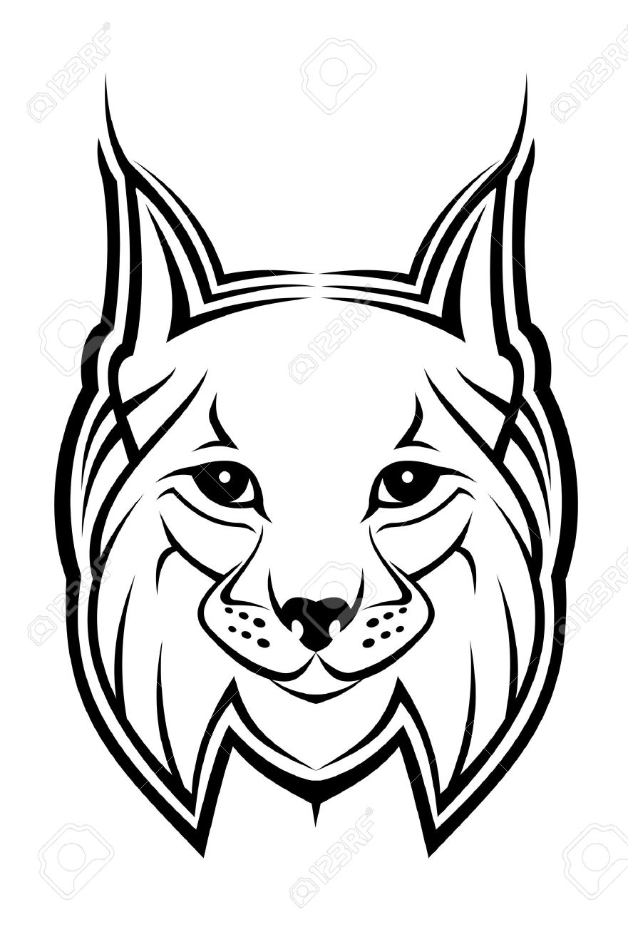tattoo designs and. Bobcat clipart simple