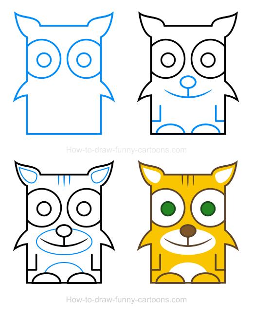 Drawings in cartoon easy. Bobcat clipart simple