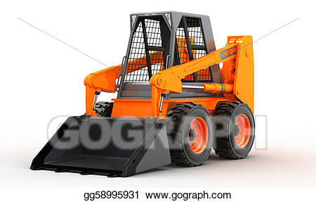 Bobcat clipart skidsteer. Stock illustration skid steer