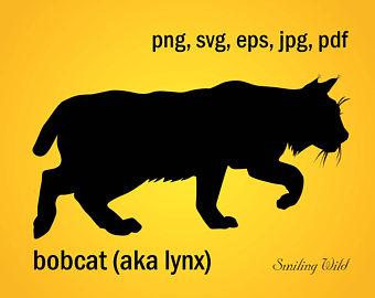 Silhouette etsy lynx printable. Bobcat clipart svg