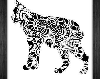 Bobcat clipart template. Henna etsy papercut mandala