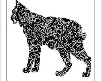 Henna etsy papercut svg. Bobcat clipart template