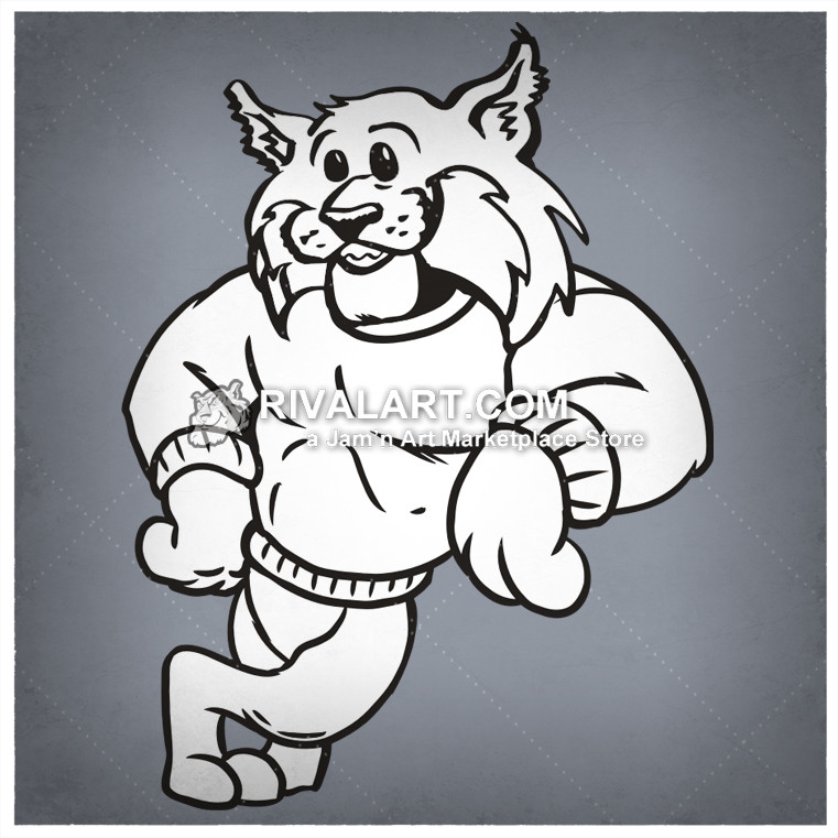 Leaning mascot image for. Bobcat clipart template