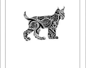 Henna etsy papercut lynx. Bobcat clipart template