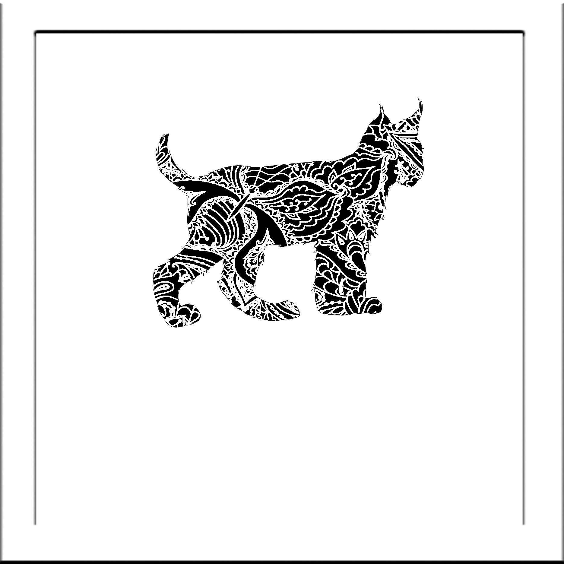 Bobcat clipart template. Papercut lynx bobcats svg