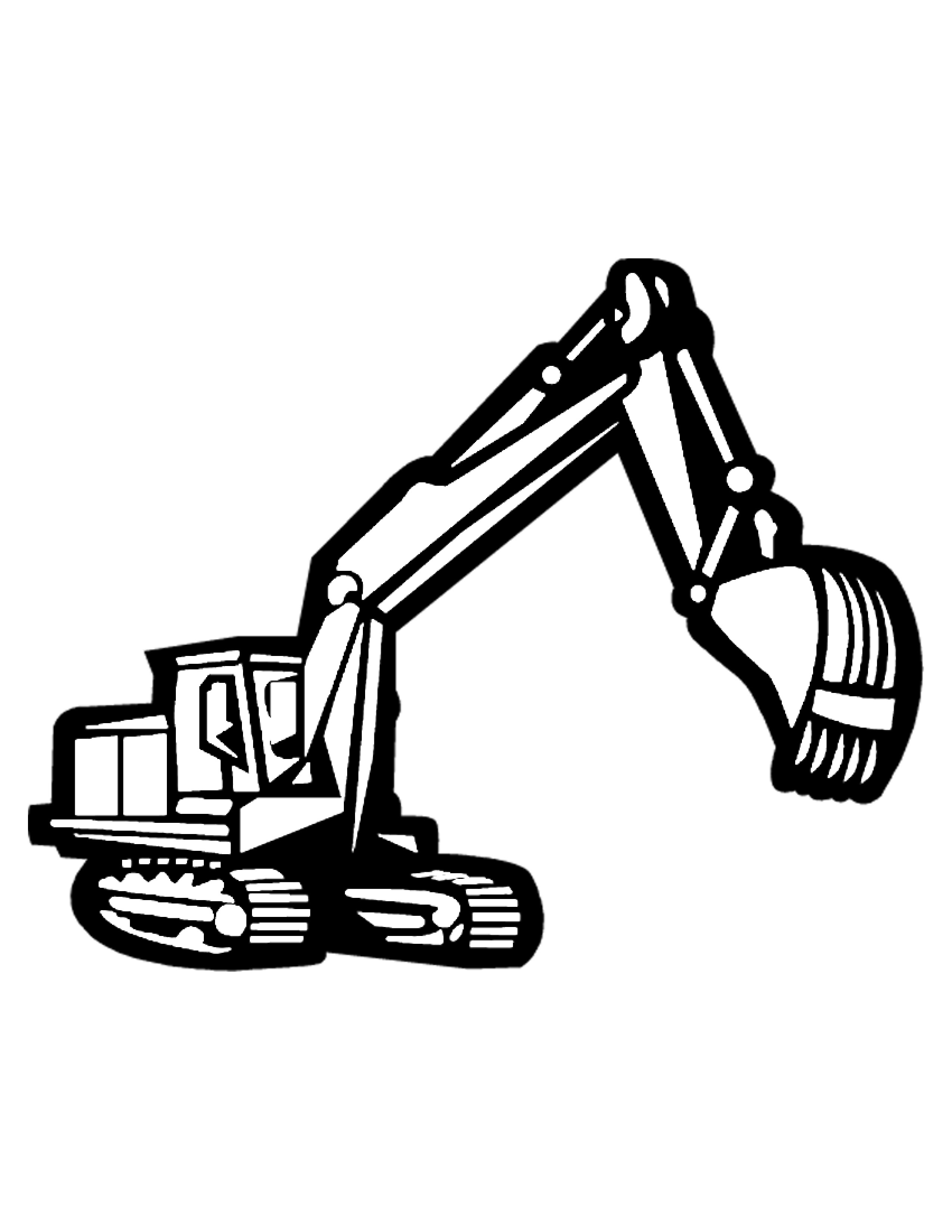 Excavator clipart black and white. Innovative construction equipment coloring