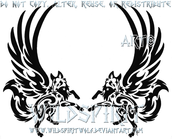 Black two with wings. Bobcat clipart tribal