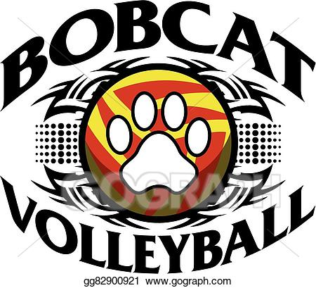 Vector illustration volleyball eps. Bobcat clipart tribal